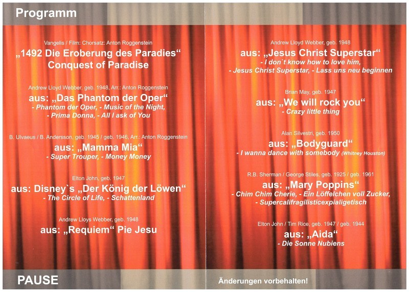 Musical Gala Programm 2018